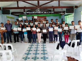 <p>Filipino MLT second module participants with Doug Hiedebrecht, trainer. Photo: supplied</p>