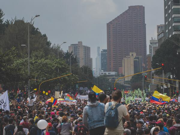 protestors in colombian streets
