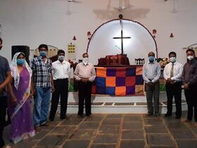 group at front of church